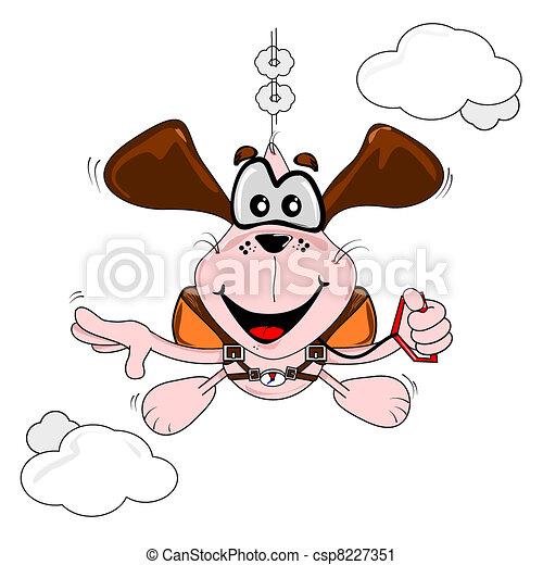 Cartoon dog parachuting - csp8227351