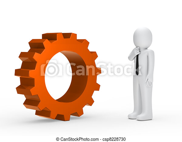Business man orange mechanical gear - csp8228730
