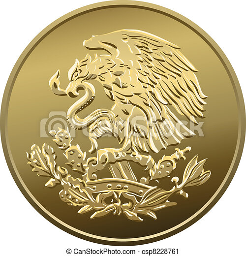 Mexican money fifty centavo, Gold Coin, heraldic eagle perched on a cactus holding a snake in its beak - csp8228761