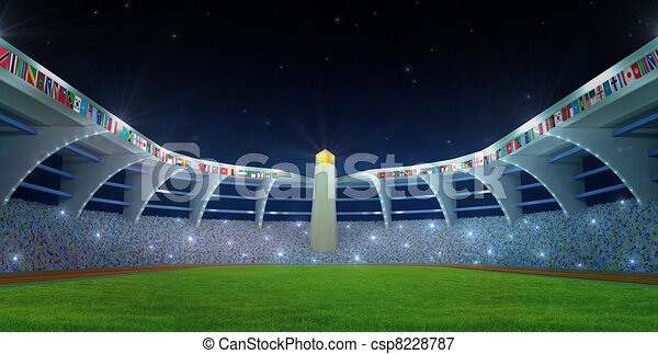 Olympic Stadium night time - csp8228787