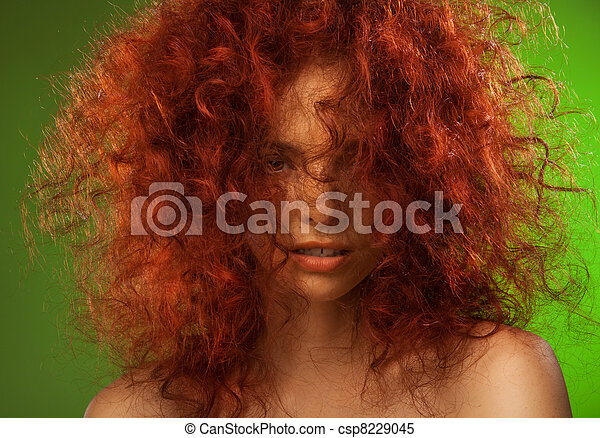 Red curly hair woman beauty portrait - csp8229045