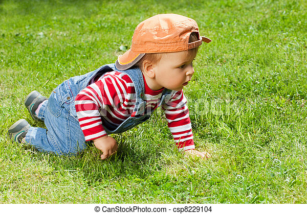 Toddler crawling in the garden - csp8229104