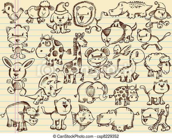 Doodle Sketch Animals Vector set - csp8229352