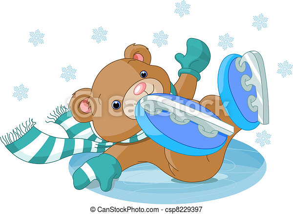 Cute bear fell to the ice rink - csp8229397