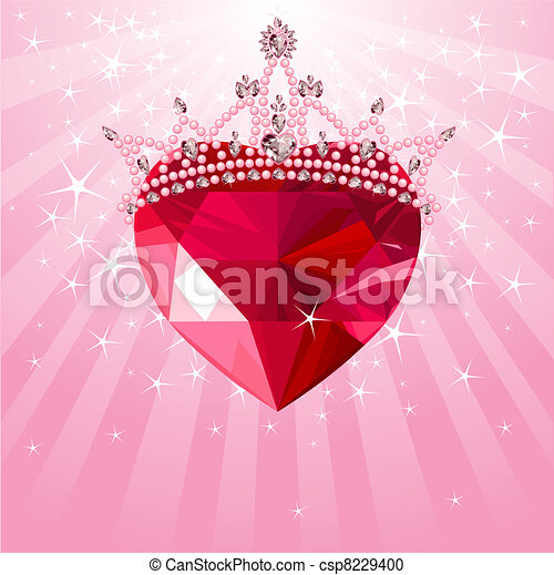 Crystal heart with crown on radial  - csp8229400