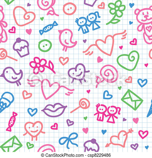 romantic seamless pattern - csp8229486