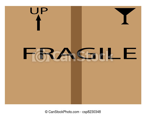 Cardboard shipping box with fragile - csp8230348