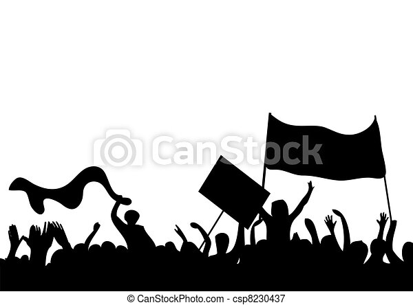 silhouettes of protesters - csp8230437