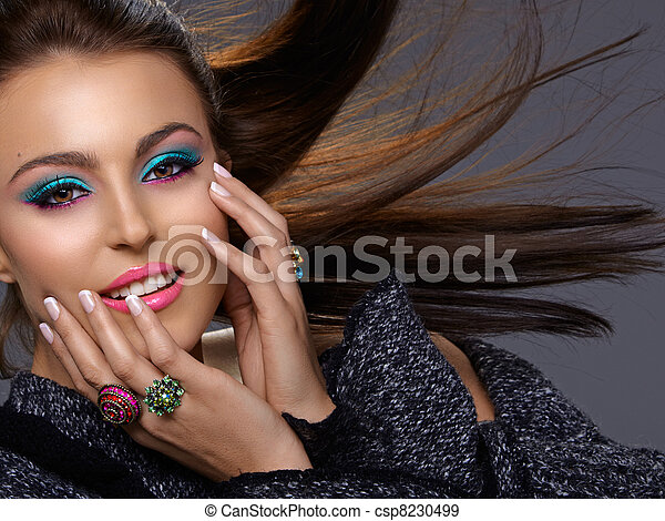 Italian beauty with fashion make-up - csp8230499