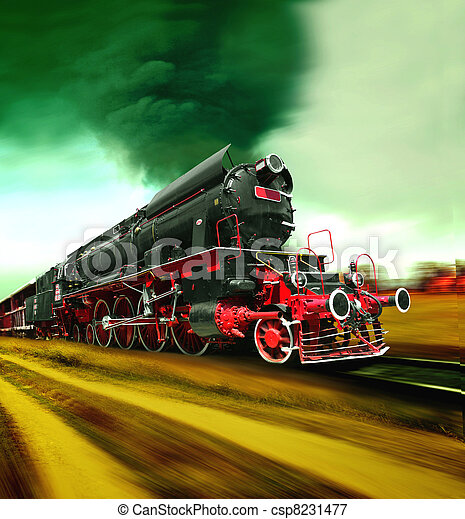 Old steam train engine - csp8231477