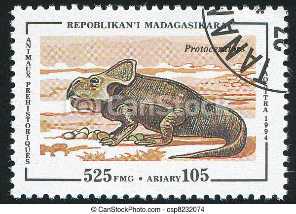 Madagascar CIRCA 1994: stamp printed by Madagascar, shows Prehistoric animal, circa 1994