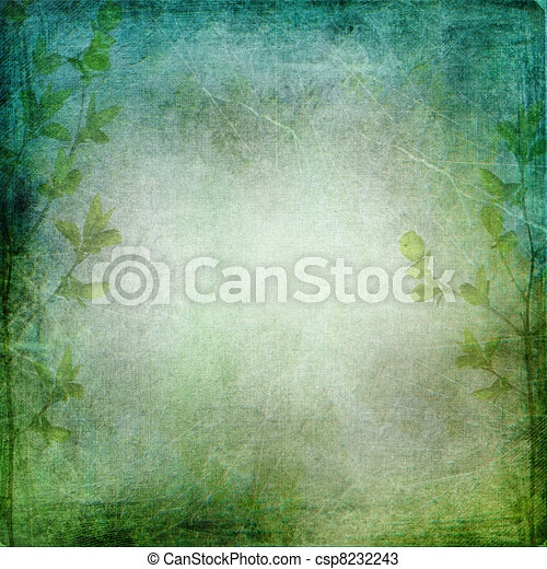 Green trees on the vintage textured green - blue background with  place for text or image  - csp8232243