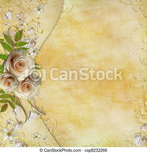 Greeting golden card with beautiful  roses, paper hearts, ribbon, leaves  - csp8232266