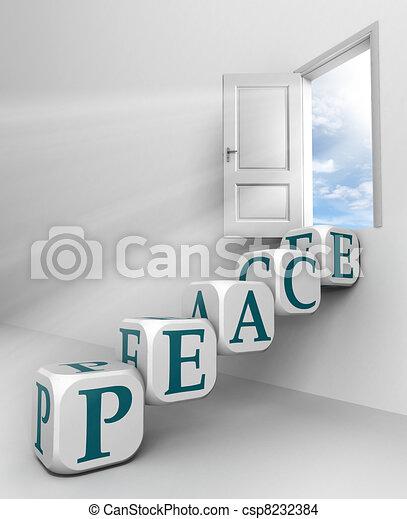 paz, vermelho, palavra, Conceitual, PORTA - csp8232384