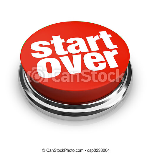 Start Over Renewal Restart Round Red Button - csp8233004