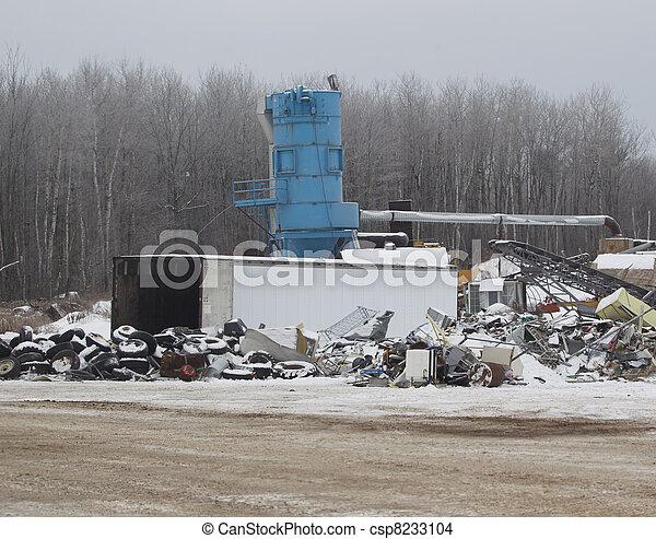Metal Recycler Machine at a Junk Yard - csp8233104
