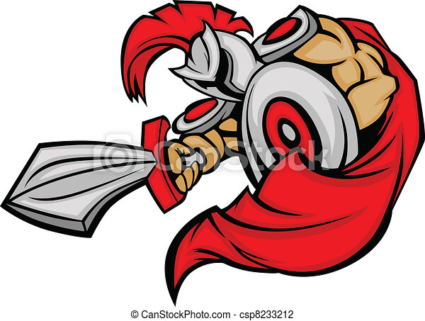 Trojan Mascot Body with Sword and S - csp8233212