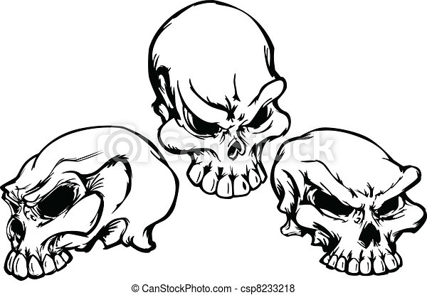 Skulls Group with Graphic Vector Im - csp8233218