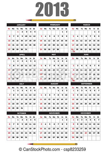 2013 calendar with pencil image. V - csp8233259