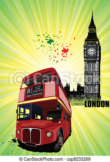Grunge London images with buses im - csp8233269