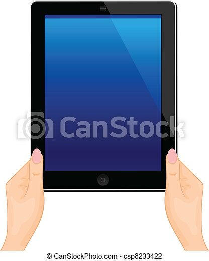 Illustration of the turned on computer tablet in a hand of the woman isolated on a white background - vector - csp8233422