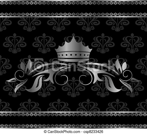 luxury vintage aluminum frame template with crown - csp8233426