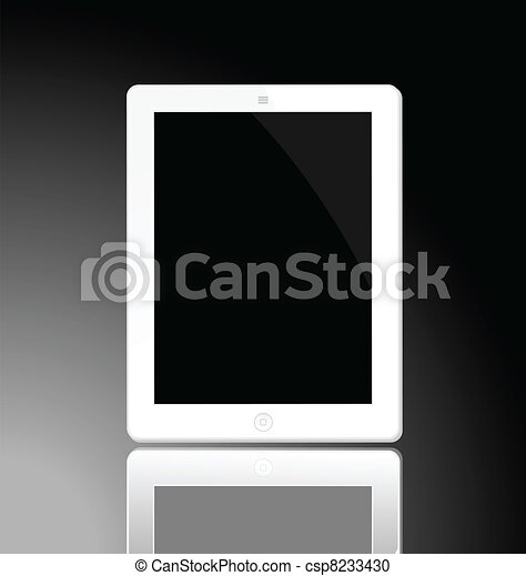 Illustration of the turned off white horizontal computer tablet with reflection - vector - csp8233430