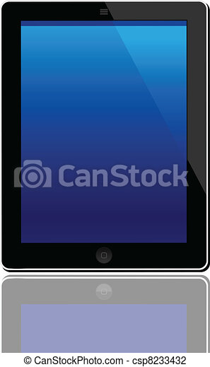 Illustration of the turned on computer tablet with reflection isolated on a white background - vector - csp8233432