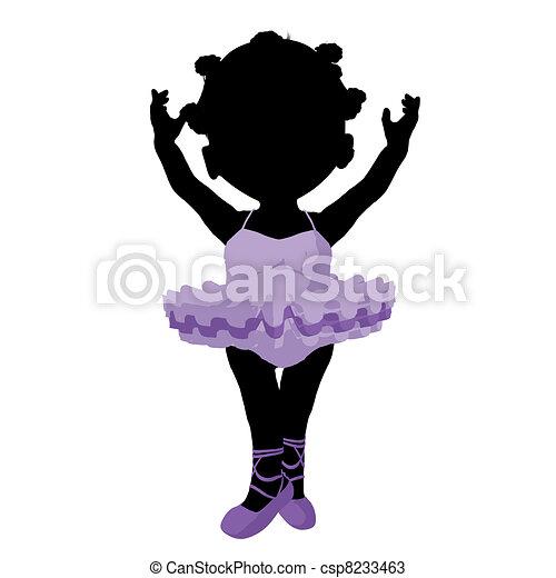 Little African American Ballerina Girl Illustration Silhouette - csp8233463