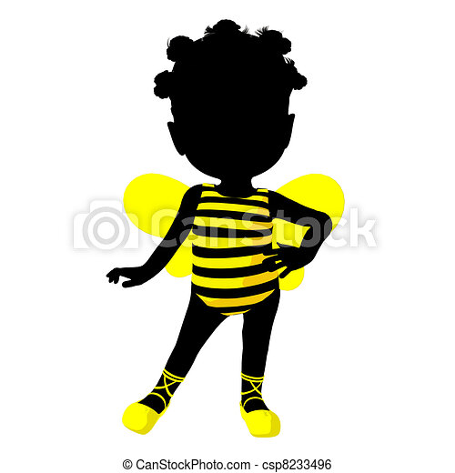 Little African American Bumble Bee Girl Illustration Silhouette - csp8233496