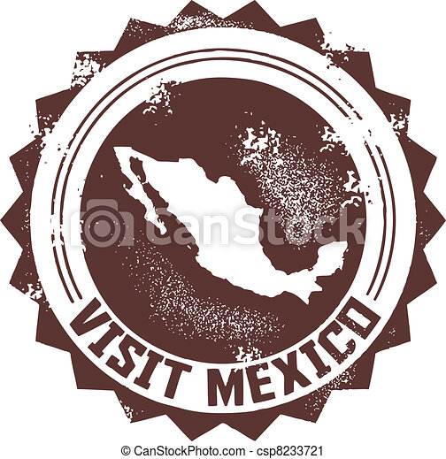 Visit Mexico Stamp - csp8233721