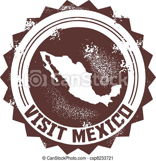 Visit Mexico Stamp - csp8233721