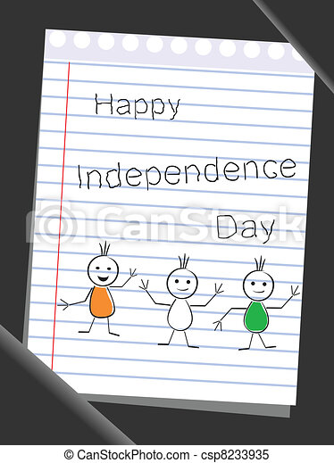 Tree doodles wearing flag color theme with text Happy Independence Day on note book paper background. - csp8233935