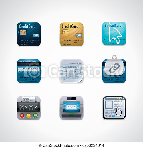 Credit card square icon set - csp8234014