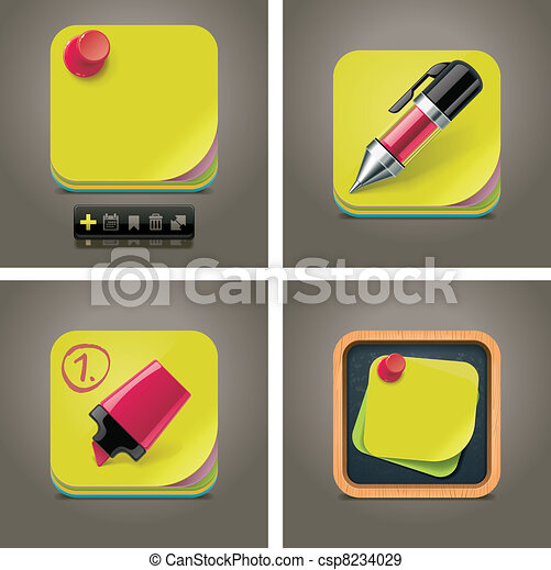 Vector sticky note icon set - csp8234029