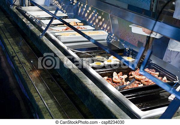 self-service buffet with hot breakfast - csp8234030