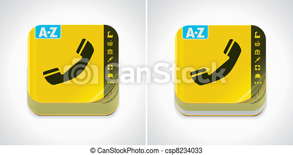 Vector yellow phone book icon - csp8234033