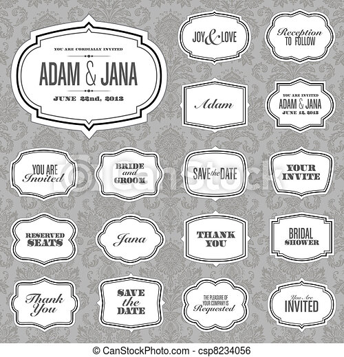 Vector Ornate Frame Set and Victorian Background - csp8234056