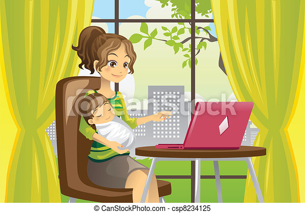 Mother and baby using laptop - csp8234125
