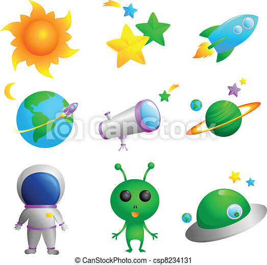Vector Clip Art of Astronomy icons - A vector illustration of cute ...