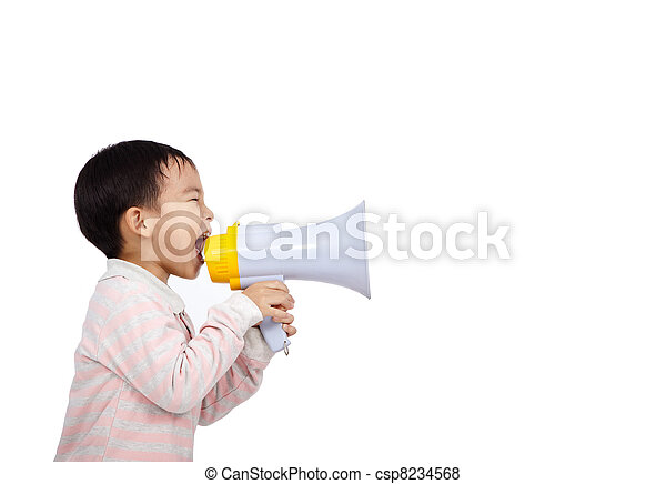 asian kid shouts something into the megaphone - csp8234568