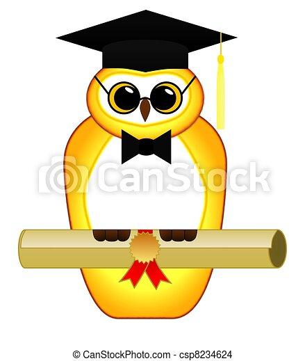 búho, aislado, graduación - csp8234624
