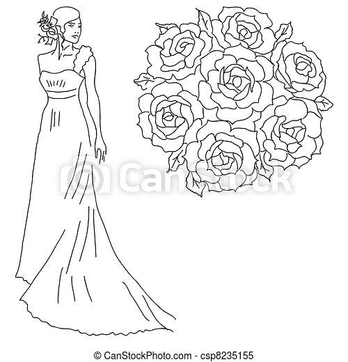 Bouquet, mariée, fleurs, silhouette , csp8235155