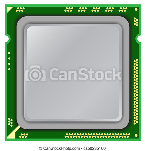 Modern computer processor on a white background. - csp8235160
