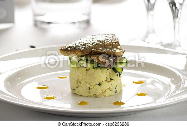 Salmon gourmet restaurant dish - csp8236286