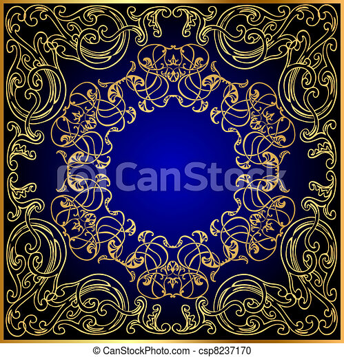 background with gold(en) ornament on turn blue and black - csp8237170