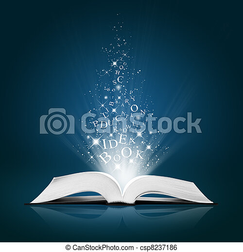 text idea on open white book - csp8237186