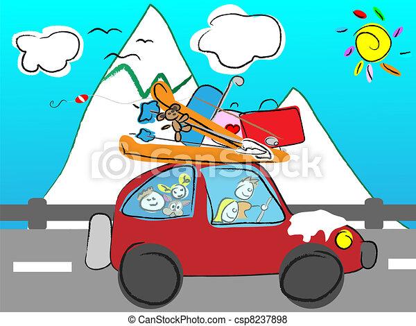 family trip to the mountains - csp8237898