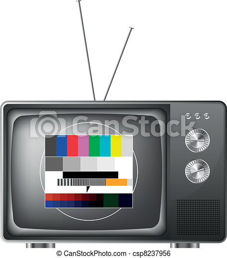 retro television with test image - csp8237956