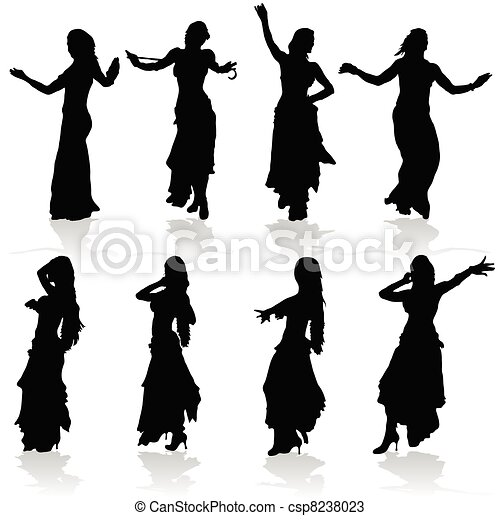 belly dancing black woman silhouette - csp8238023